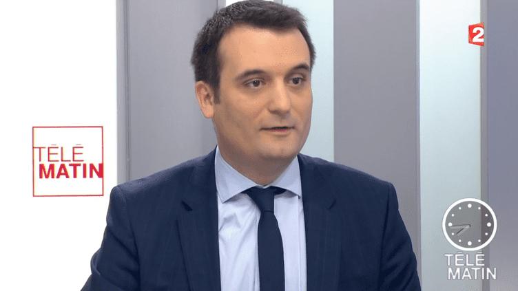"""Le vice-président du Front national Florian Philippot, vendredi 4 mars 2016, dans """"Les Quatre vérités"""" de France 2. (FRANC E2)"""