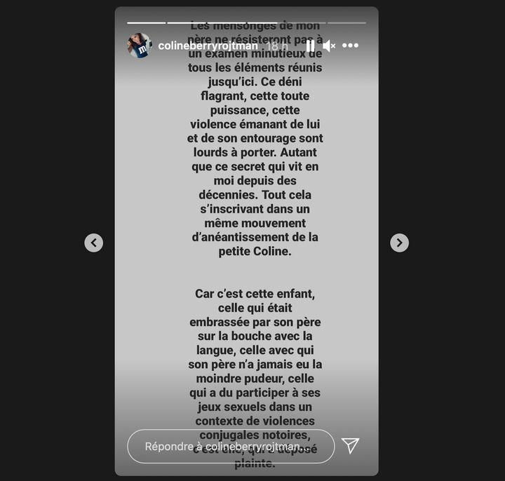 Un message publié par Coline Berry sur Instagram mercredi 3 février 2021. (CAPTURE D'ECRAN INSTAGRAM)