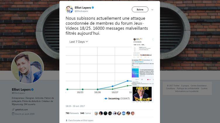 """Le cofondateur du """"numéro anti-relous"""" a déploré, lundi 30 octobre 2017, une attaque menée contre son service par des utilisateurs du forum """"Blabla 18-25"""" de Jeuxvideo.com (ELLIOT LEPERS / TWITTER)"""