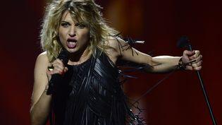 Amandine Bourgeois lors de sa prestation à l'Eurovision, le 18 mai 2013 en Suède. (JOHN MACDOUGALL / AFP)