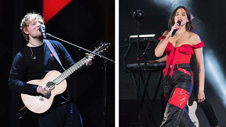 Ed sheeran et Dua Lipa  (Angela Weiss / AFP et Shutterstock/SIPA)