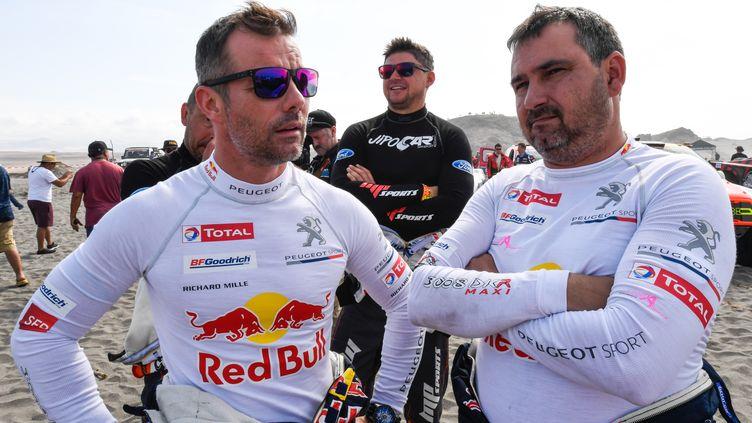 Sébastien Loeb et son copilote Daniel Elena, le 9 janvier 2018, lors de la quatrième étape du Dakar au Pérou. (ERIC VARGIOLU / E.V.A. / AFP)