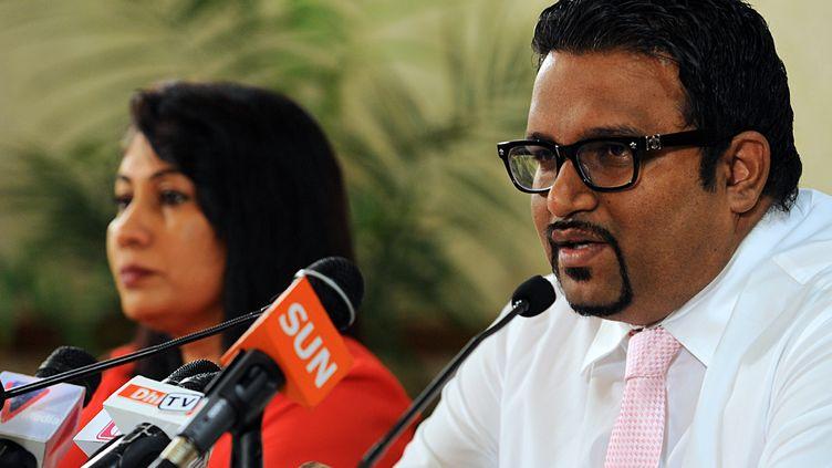Ahmed Adeeb, alors ministre du Tourisme, en novembre 2013 à Malé (Maldives). (ISHARA S.KODIKARA / AFP)