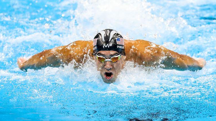Michael Phelps aux Jeux olympiques de Rio de Janeiro, le 13 août 2016. (WILLIAM VOLCOV / AFP)