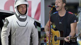 Thomas Pesquet ( à gauche) et Chris Martin du groupe Coldplay ( à droite). (JOE (SIPA) / SLAVEN VLASIC (GETTY IMAGES))