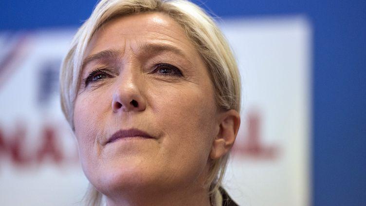 Marine Le Pen, la présidente du Front national, le 27 mai 2014 à Nanterre (Hauts-de-Seine). (FRED DUFOUR / AFP)