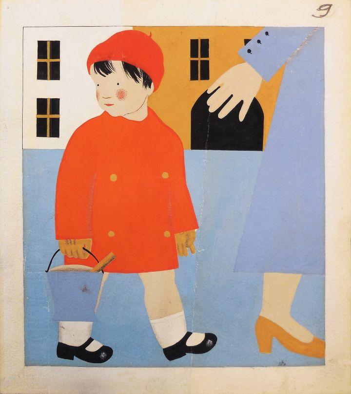 """""""Bonjour , bonsoir"""", Nathalie Parain, gouache, 1934 (FLAMMARION / PERE CASTOR)"""