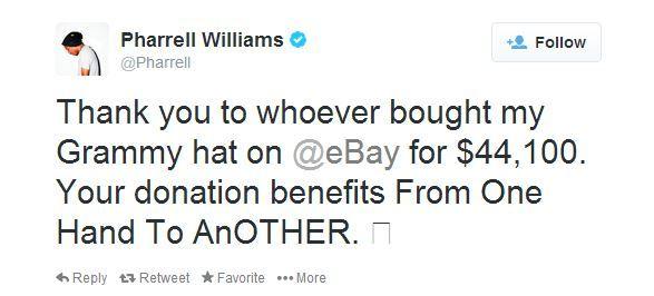 Le tweet de Pharrell Williams pour remercier les acquéreurs de son chapeau, le 2 mars 2014. (CAPTURE D'ECRAN / FRANCETV INFO)