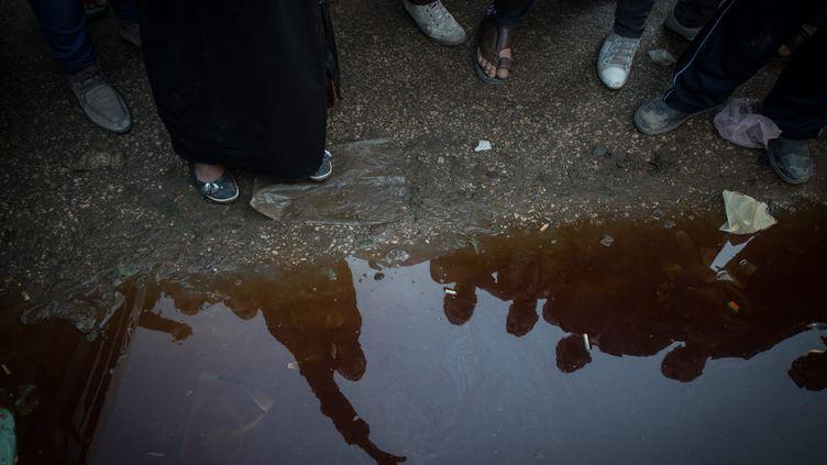Des manifestant à Mansoura dans le nord de l'Egypte, le 24 décembre 2013. (PAN CHAOYUE / MAXPPP)