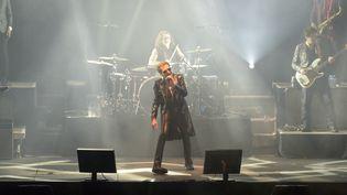 Le chanteur Johnny Hallyday en concert à Nouméa en Nouvelle-Calédonie, le 29 avril 2016. (FRED PAYET / AFP)