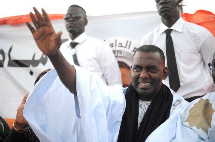 Le chef du mouvement anti-esclavagiste mauritanien lors de la campagne pour l'élection présidentielle le 19 juin 2014 à Nouakchott. Il s'était porté candidat à titre indépendant. (Photo AFP/Seyllou)