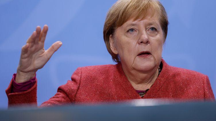 La chancelière allemande Angela Merkellors d'une conférence de presse, le 16 novembre 2020. Photo d'illustration. (ODD ANDERSEN / AFP)