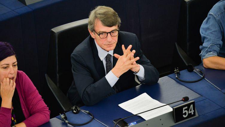 L'Italien David Sassoli lors de la session plénière du nouveau Parlement européen, le 3 juillet 2019 à Strasbourg (Bas-Rhin). (ALEXEY VITVITSKY / SPUTNIK / AFP)