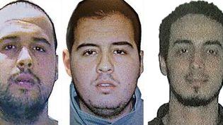 De gauche à droite, Khalid El Bakraoui, Ibrahim El Bakraoui etNajim Laachraoui, kamikazes des attentats de Bruxelles, le 22 mars 2016. (AFP / FRANCETV INFO)