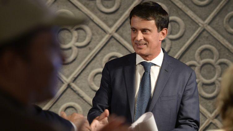 Manuel Valls, le 25 septembre 2018, lors de l'annonce de sa candidature à la mairie de Barcelone. (JOSEP LAGO / AFP)
