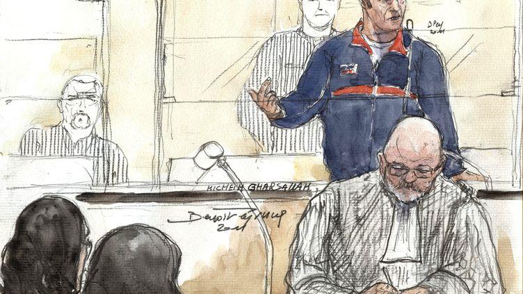 Croquis d'audience réalisé le 26 octobre 2011 aux assises de Paris oùHicheim Gharsallah (en bleu) était jugé pour avoir transmis le VIH à sa compagne. (BENOIT PEYRUCQ / AFP)