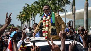 Tundu Lissu lors de son retour d'exil, le 27 juillet 2020 à Dar es Salaam en Tanzanie. (STR / AFP)