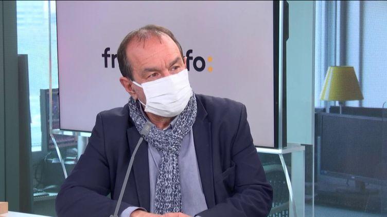 Philippe Martinez,secrétaire général de la CGT, était l'invité éco de franceinfo le mercredi 14 avril 2021. (FRANCEINFO / RADIOFRANCE)
