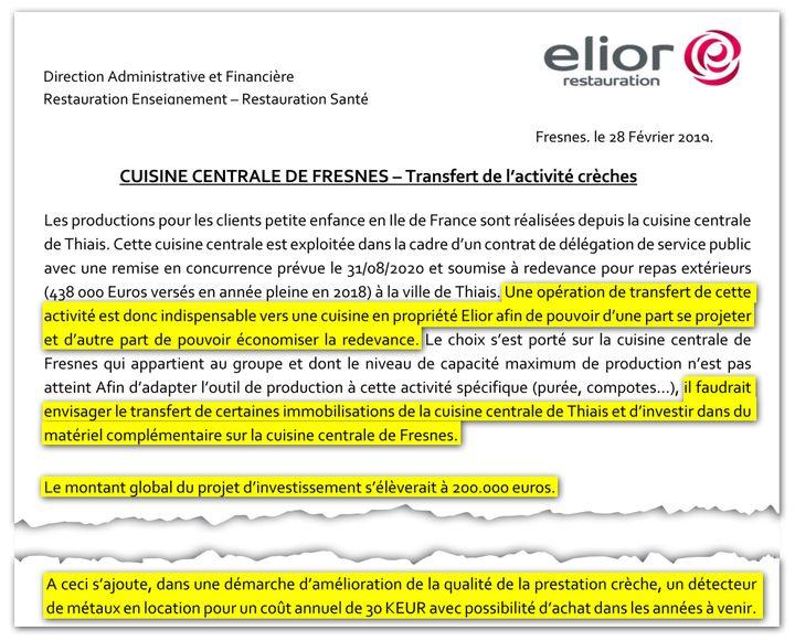 Extraits de l'étude de rentabilité du projet de transfert de l'activité crèches, réalisée par la direction financière d'Elior. (DR)