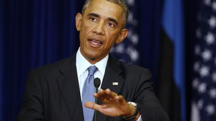 Le président des Etats-Unis, Barack Obama, lors d'une conférence de presse, à Tallinn, en Estonie, le 3 septembre 2014. (LARRY DOWNING / REUTERS)