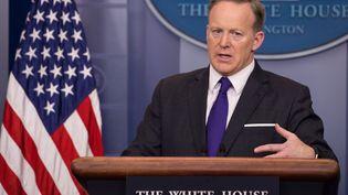 Sean Spicer, le porte-parole de la Maison Blanche, à Washington (Etats-Unis), le 30 mars 2017. (CHERISS MAY / NURPHOTO / AFP)