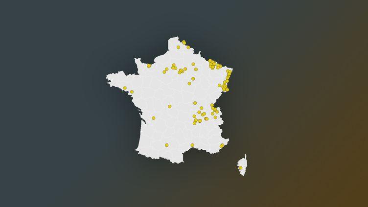 Les 100 villes avec le plus haux taux d'abstention en France. (FRANCEINFO)