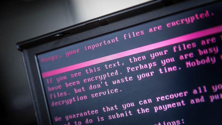 Un message affiché par un ransomware, le 27 juin 2017 à Geldrop (Pays-Bas). (ROB ENGELAAR / ANP)