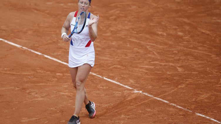 Pauline Parmentier durant l'édition 2018 de Roland-Garros (LEON TANGUY / MAXPPP)