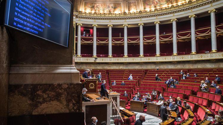 Le ministre de l'Intérieur Gerald Darmanin à la tribune, le 1er février 2021, lors de l'ouverture du débat à l'Assemblée Nationale sur le projet de loi sur le respect des principes republicains. (MAXPPP)