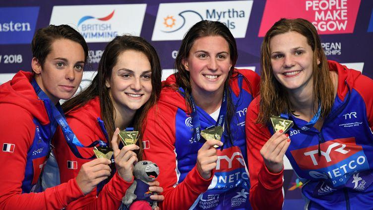 Les Françaises sacrées sur le 4x100 m (FRANCOIS XAVIER MARIT / AFP)