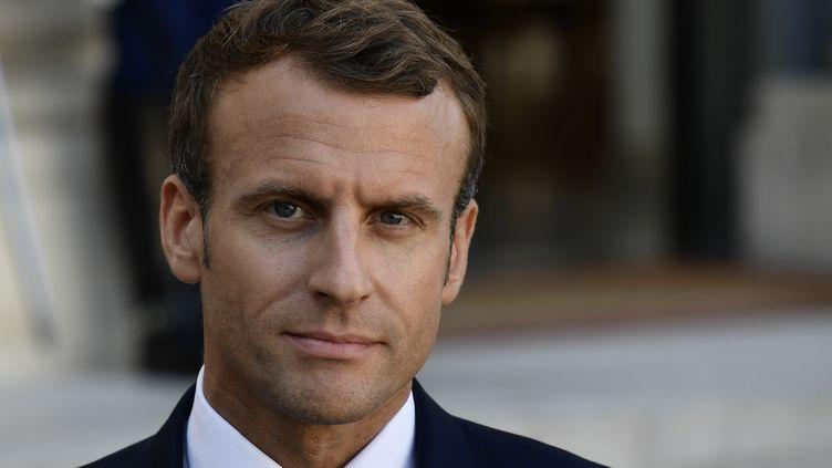 Lechef de l'Etat français Emmanuel Macron, à l'Elysée, le 16 octobre 2018. (PHILIPPE LOPEZ / AFP)