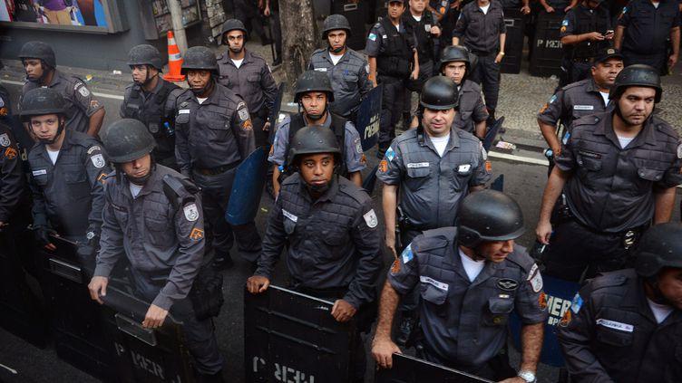 La police brésilienne devant le palais Guanabara à Rio (Brésil), où la présidente Dilma Roussef recevait le pape François, le 22 juillet 2013. (LUCA ZENNARO / ANSA / AFP)