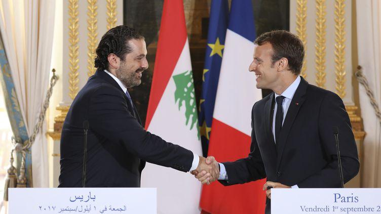 Le Premier ministre libanais, Saad Hariri, et le président français, Emmanuel Macron, lors d'une conférence de presse commune à l'Elysée, à Paris, le 1er septembre 2017. (LUDOVIC MARIN / AFP)