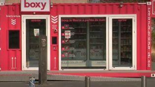 Au port de Gennevilliers (Hauts-de-Seine), un conteneur sert de magasin dans une zone isolée. (France 2)