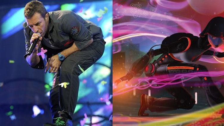 Chris Martin, leader de Coldplay et son petit personnage Mylo Xyloto  (M.Van Hoorn/ANP/AFP, Bongo Comics)