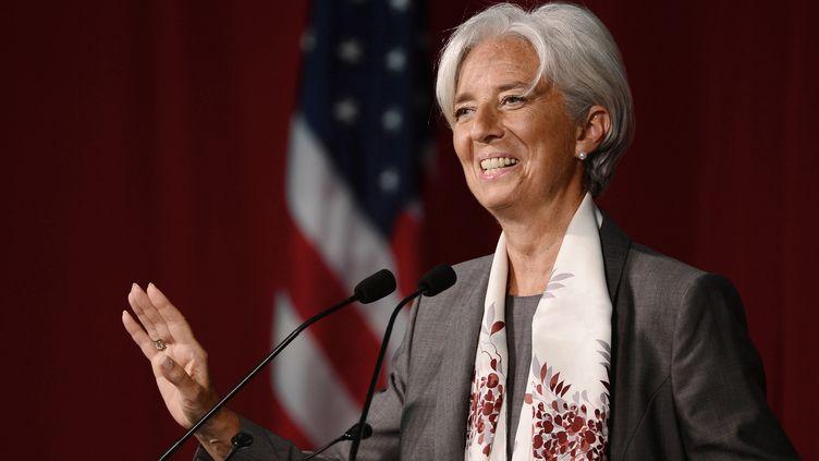 La directrice générale du Fonds monétaire international Christine Lagarde, le 23 mai 2012, à Cambridge (Etats-Unis). (EMMANUEL DUNAND / AFP)