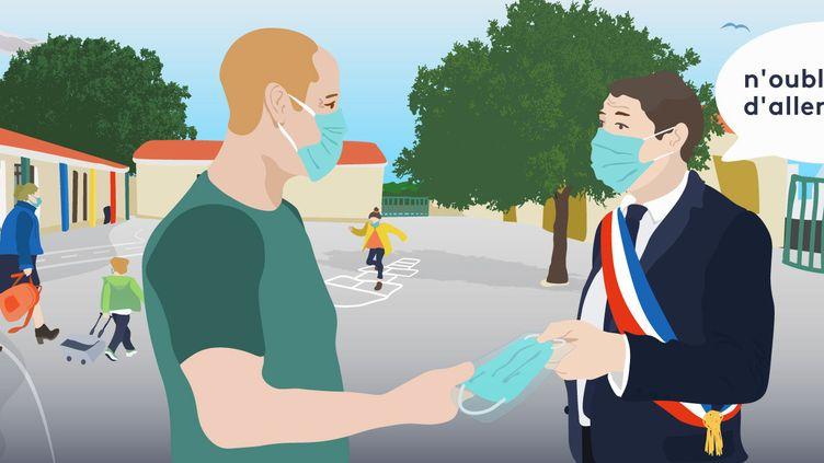 La campagne pour le second tour des municipales, qui aura lieu le 28 juin, a été fortement bousculée par l'épidémie de coronavirus. (AWA SANE / FRANCEINFO)