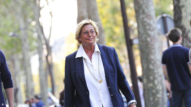 Isabelle Balkany se rend à un café politique de l'UMP, à Neuilly-sur-Seine (Hauts-de-Seine), le 4 septembre 2012. (MAXPPP)