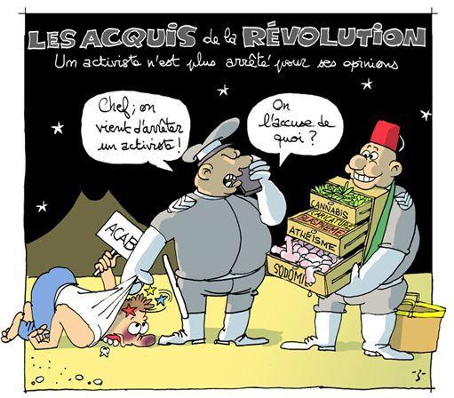 «Les acquis de la révolution» tunisienne, caricature de Z (Blog DEBATunisie)