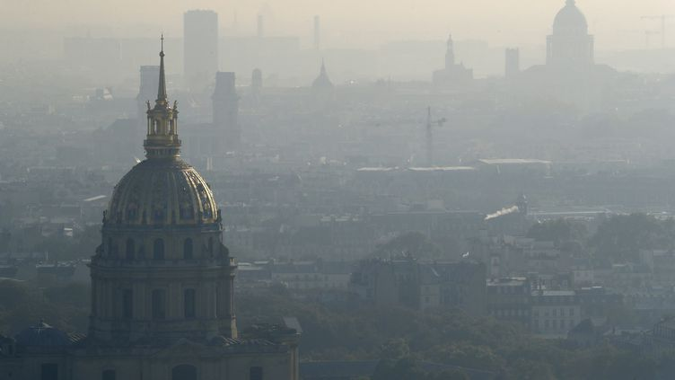 Paris sous un nuage de pollution, le 12 octobre 2016. (PATRICK KOVARIK / AFP)