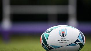 Le ballon officiel de la Coupe du monde de rugby, auFuji Hokuroku Park de Fujiyoshida (Japon), le 10 septembre 2019. (FRANCK FIFE / AFP)