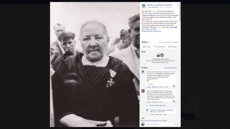 Capture d'écran de l'appel à témoins lancé par le musée de la résistance bretonne de Saint-Marcel (Morbihan). (MUSEE DE LA RESISTANCE BRETONNE / FACEBOOK)
