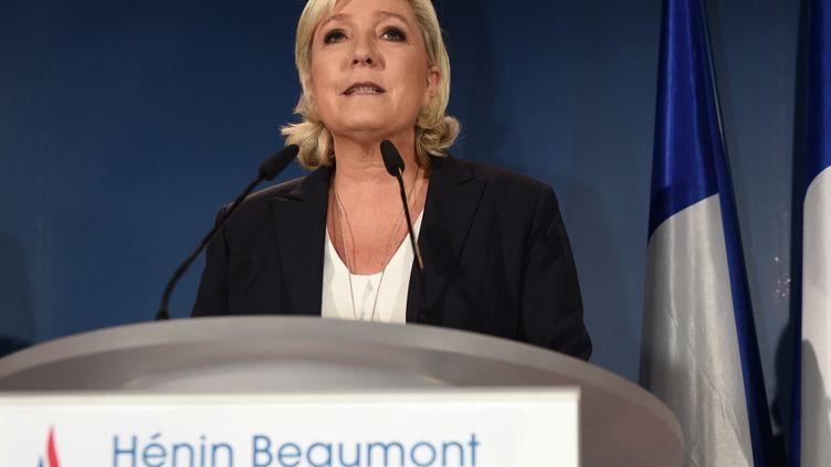 Marine Le Pen, le 11 juin 2017 à Hénin-Beaumont (Pas-de-Calais). (FRANCOIS LO PRESTI / AFP)