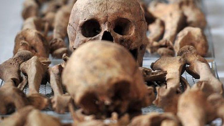 Ossements de soldats, victimes de la guerre de Corée. (AFP PHOTO / POOL / JUNG YEON-JE)