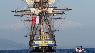 L'Hermioneau large de Port-Vendres en avril dernier (RAYMOND ROIG / AFP)