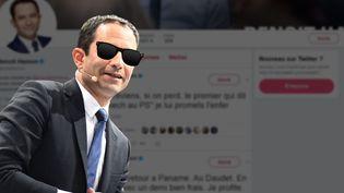 Sur Twitter, Benoît Hamon publie régulièrement des messages humoristiques. (FRANCEINFO / ANSELME CALABRESE)