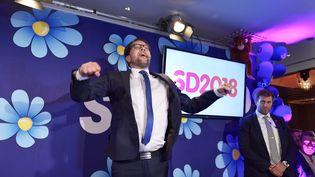 Jimmie Akesson, chef de file des Démocrates de Suède (DS) dimanche 9 septembre 2018, à l'annonce des résulatts des législatives. (ANDERS WIKLUND / TT NEWS AGENCY)