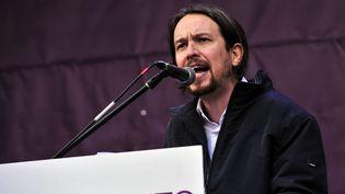 Pablo Iglesias, le leader de Podemos, le parti de la gauche radicale espagnole, le 31 janvier 2015 à Madrid (Espagne). (TOM GANDOLFINI / AFP)