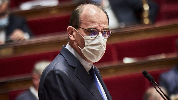 Le Premier ministre Jean Castex à l'Assemblée nationale, le 13 avril 2021. (ANTONIN BURAT / HANS LUCAS / AFP)