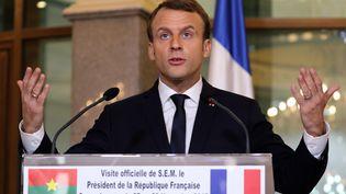 Emmanuel Macron, lors de son discours devant des étudiants de l'université de Ouagadougou, le 28 novembre 2017. (LUDOVIC MARIN / POOL)